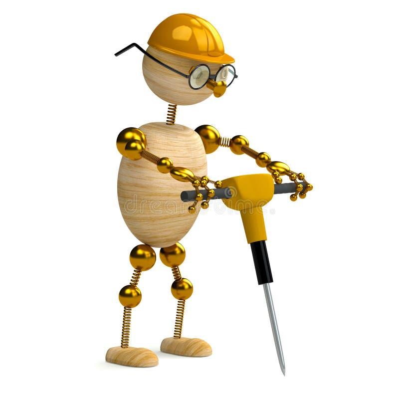 uomo di legno 3d che lavora con il jackhammer illustrazione vettoriale