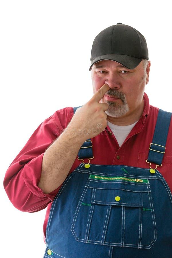 Uomo di mezza età in denim che selezionano il suo naso fotografia stock libera da diritti