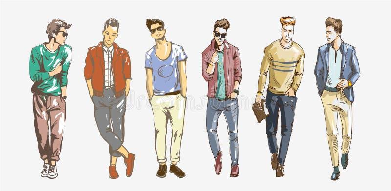 Uomo di modo Raccolta degli schizzi alla moda degli uomini s su un fondo bianco Illustrazione casuale di modo degli uomini illustrazione vettoriale