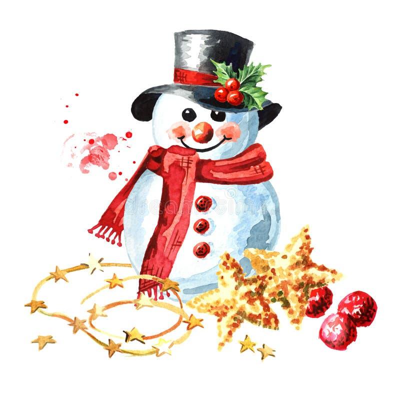 Uomo di neve con cappello nero di Bowler, sciarpa rossa e muffole con decorazioni di palle Disegno di disegno a mano di colore d' illustrazione vettoriale