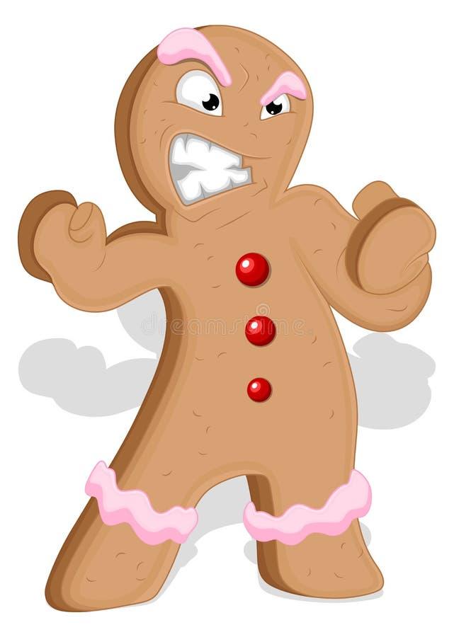 Uomo di pan di zenzero arrabbiato - illustrazione di vettore di Natale illustrazione vettoriale