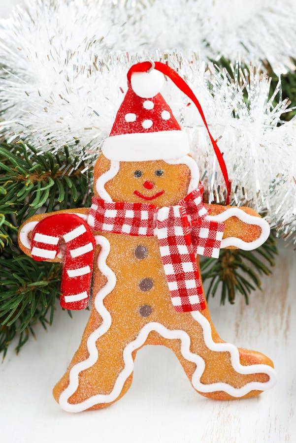 Uomo di pan di zenzero di Natale, primo piano immagini stock libere da diritti