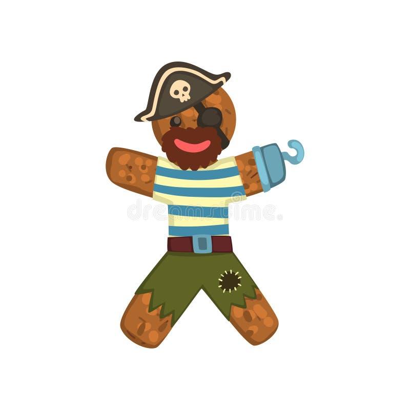 Uomo di pan di zenzero in costume del pirata, carattere di Natale con l'illustrazione divertente di vettore del fronte su un fond royalty illustrazione gratis