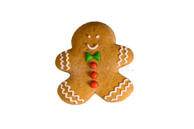 Uomo di pan di zenzero di Natale isolato su un fondo bianco fotografia stock