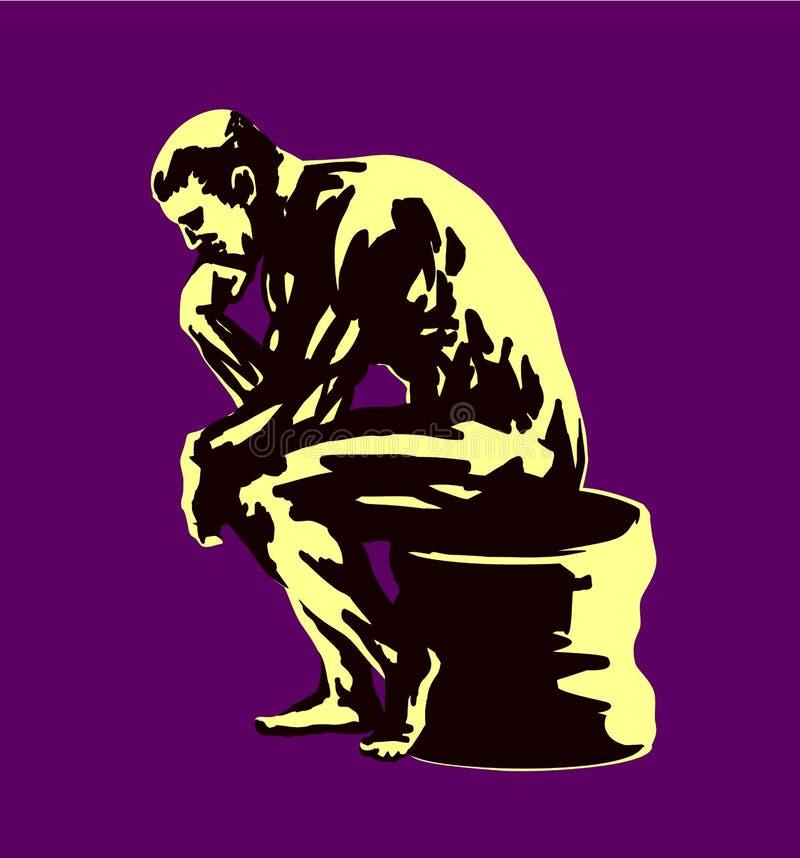 Uomo di pensiero che si siede con il mento che riposa a disposizione, riflettendo le risposte di ricerca del filosofo illustrazione vettoriale