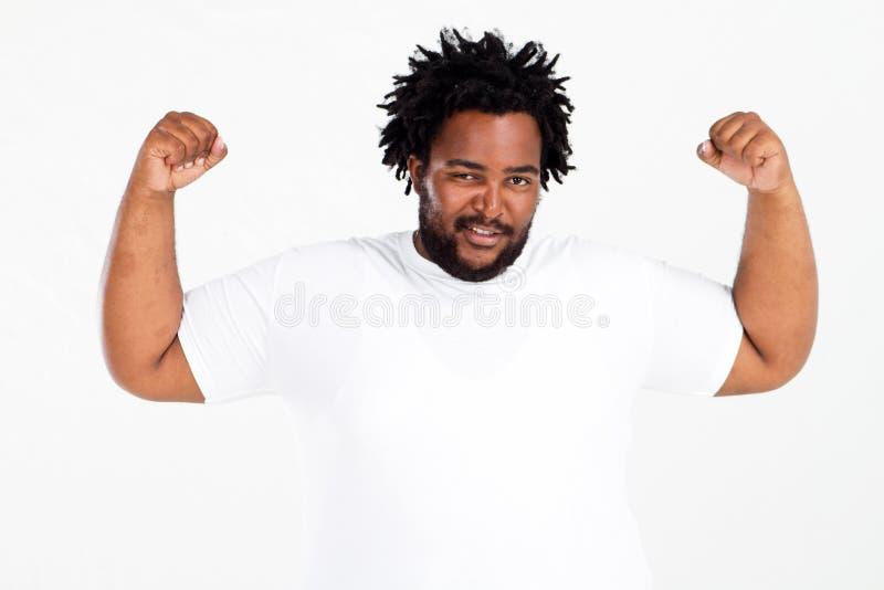 Uomo di peso eccessivo divertente immagine stock libera da diritti