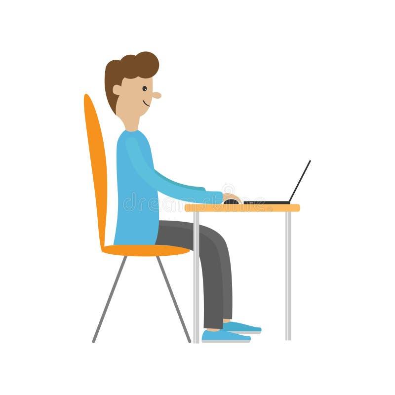 Uomo di profilo allo scrittorio con leptop Tipo che lavora al computer illustrazione vettoriale