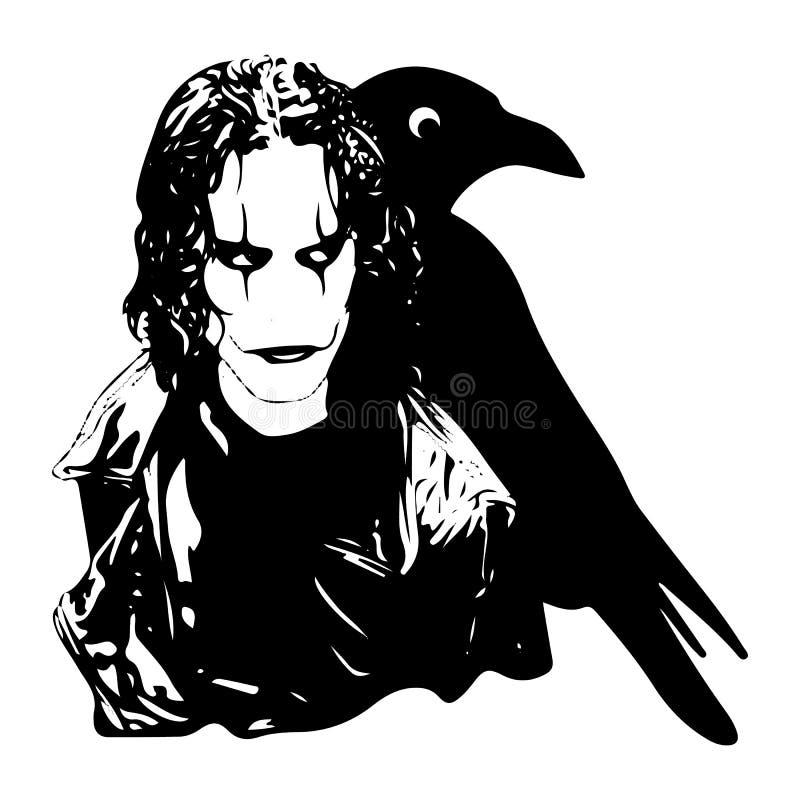 Uomo di Raven, tatuaggio di orrore, siluetta per progettazione, su backgr bianco illustrazione vettoriale