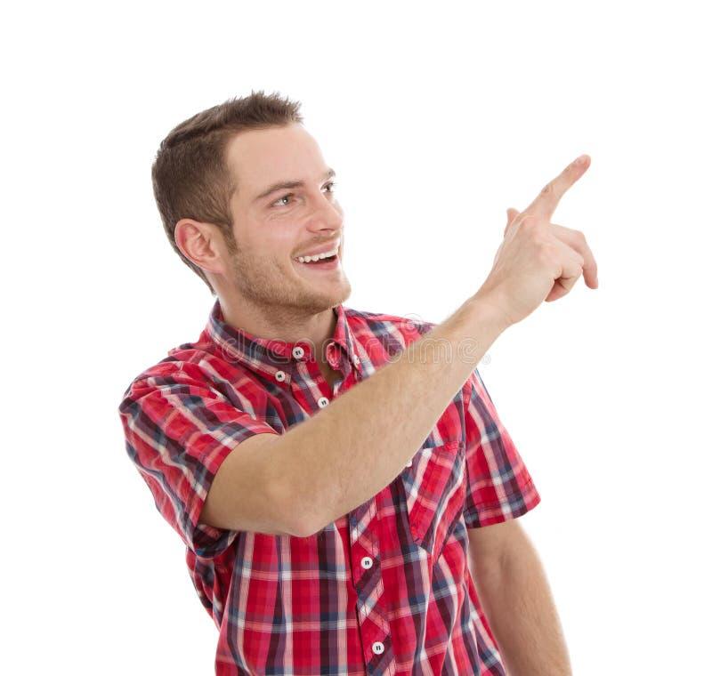 Uomo di risata che indica a qualcosa immagini stock libere da diritti