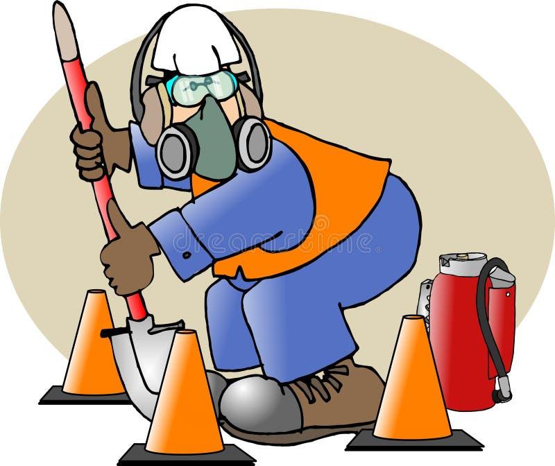 Uomo di sicurezza di costruzione illustrazione di stock
