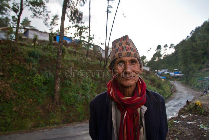 Uomo di Sindhupalchowk, Nepal fotografie stock