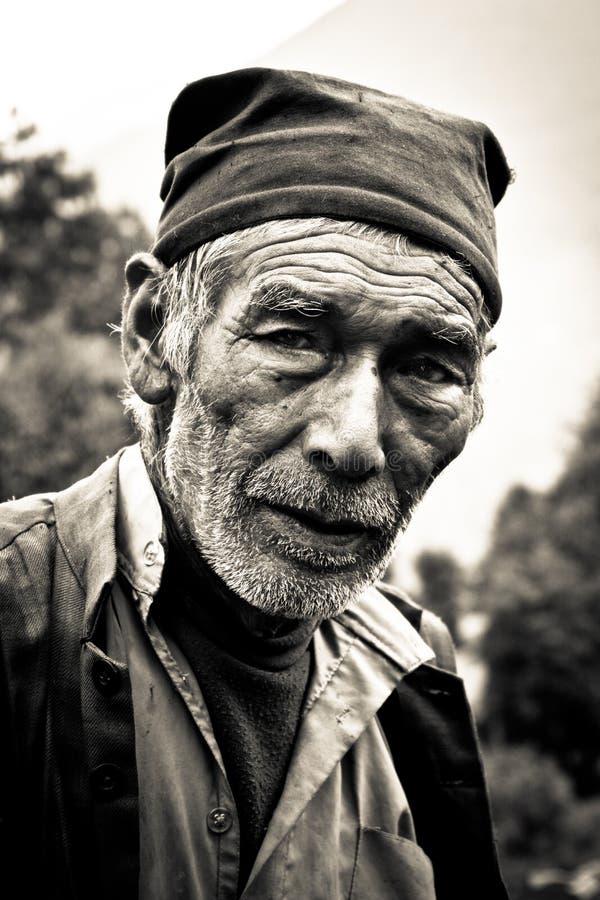 Uomo di Sindhupalchowk, Nepal fotografia stock libera da diritti