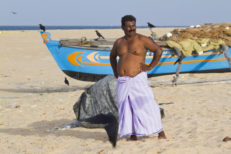 Uomo di Tamul Sri Lanka a Batticaloa, Sri Lanka fotografie stock libere da diritti