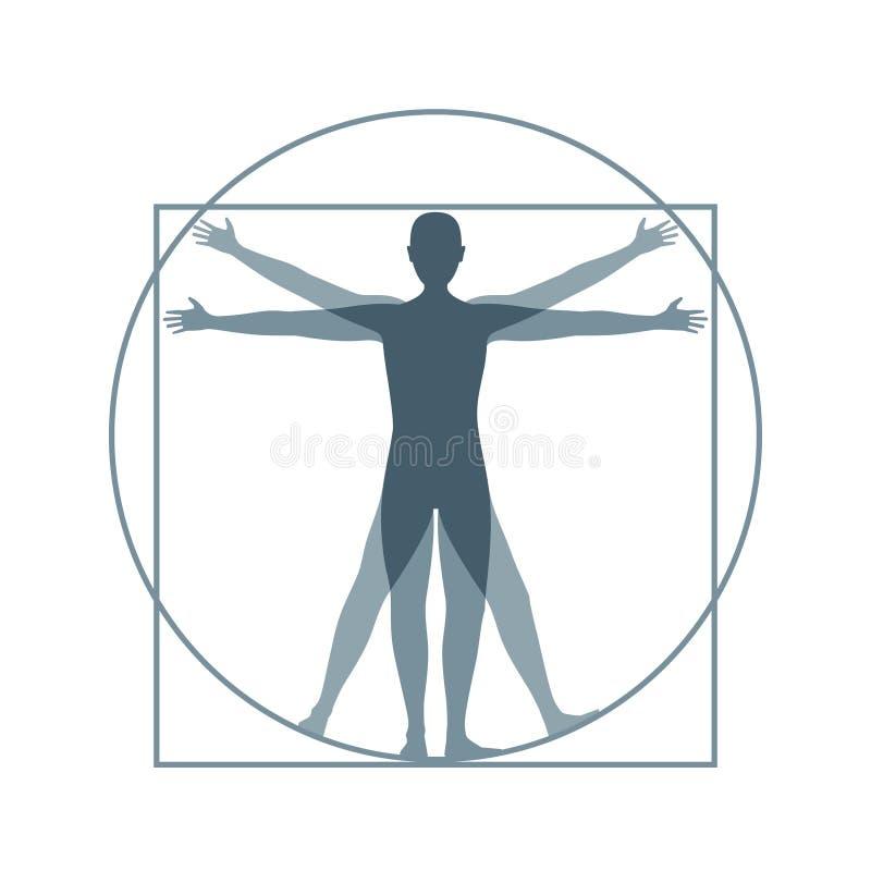 Uomo di Vitruvian della siluetta del fumetto Vettore immagine stock