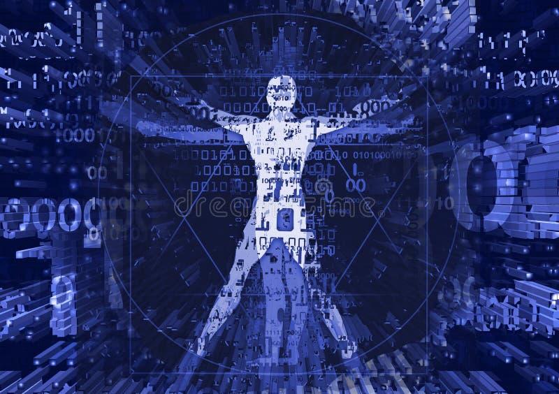 Uomo di Vitruvian nell'esplosione dei dati del computer royalty illustrazione gratis