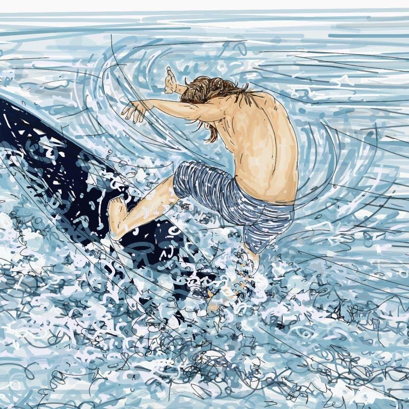 Uomo di Winsurf dietro la guida delle onde, mare agitato royalty illustrazione gratis