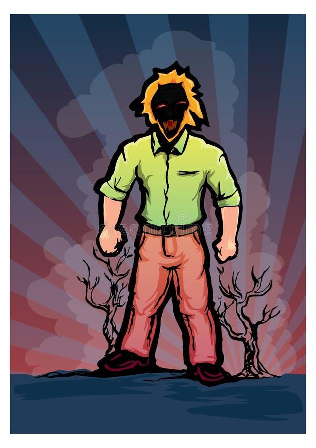 Uomo dietro danno della natura illustrazione vettoriale
