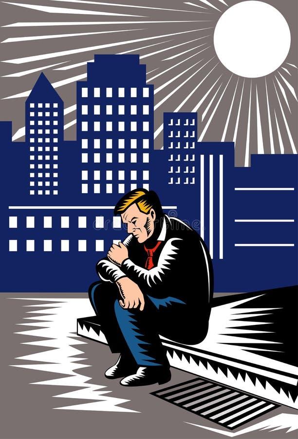 Uomo disoccupato su pavimentazione royalty illustrazione gratis