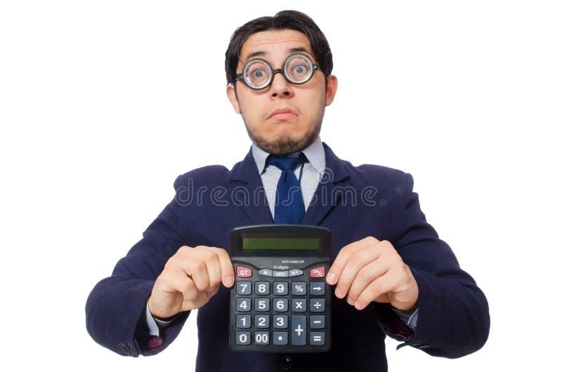 Uomo divertente con il calcolatore isolato su bianco fotografia stock