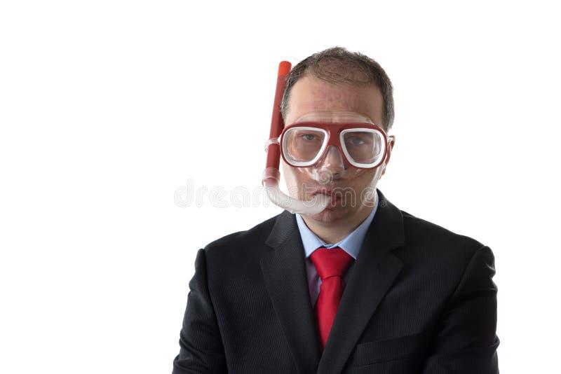 Uomo divertente con la maschera e la presa d'aria fotografie stock