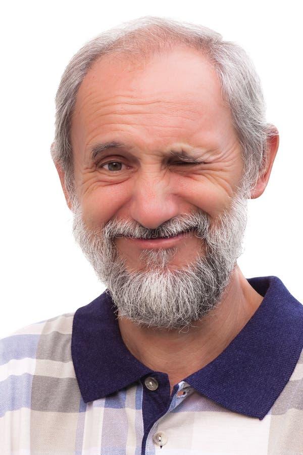 Uomo divertente con una barba immagine stock