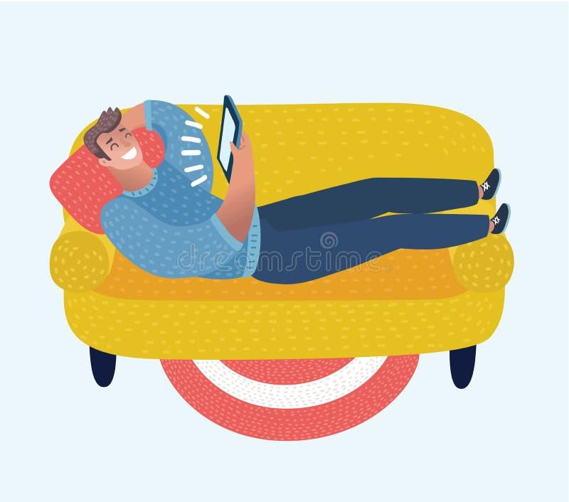 Uomo divertente del fumetto sul sofà con la compressa in sue mani illustrazione vettoriale