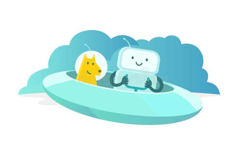 Uomo e cane dell'astronave Voi e cane nello spazio Autoadesivo di avventura illustrazione vettoriale