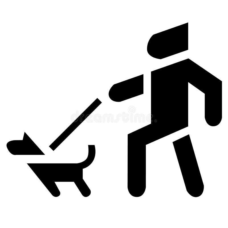 Uomo e cane sulla siluetta Icona arrabbiata dell'animale domestico illustrazione vettoriale