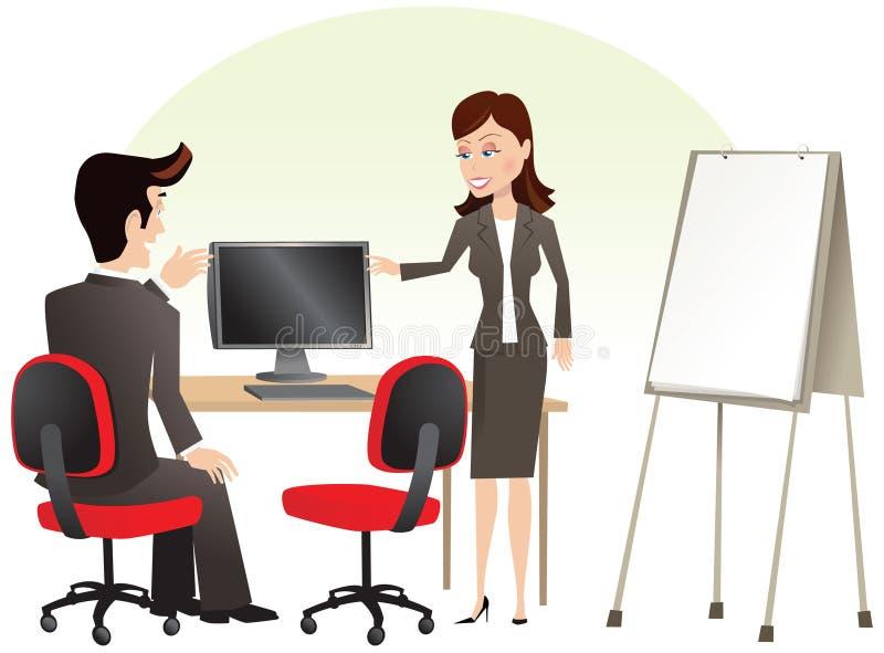 Uomo e donna al calcolatore illustrazione vettoriale