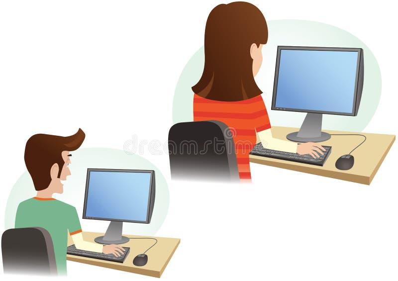 Uomo e donna al monitor del computer illustrazione di stock
