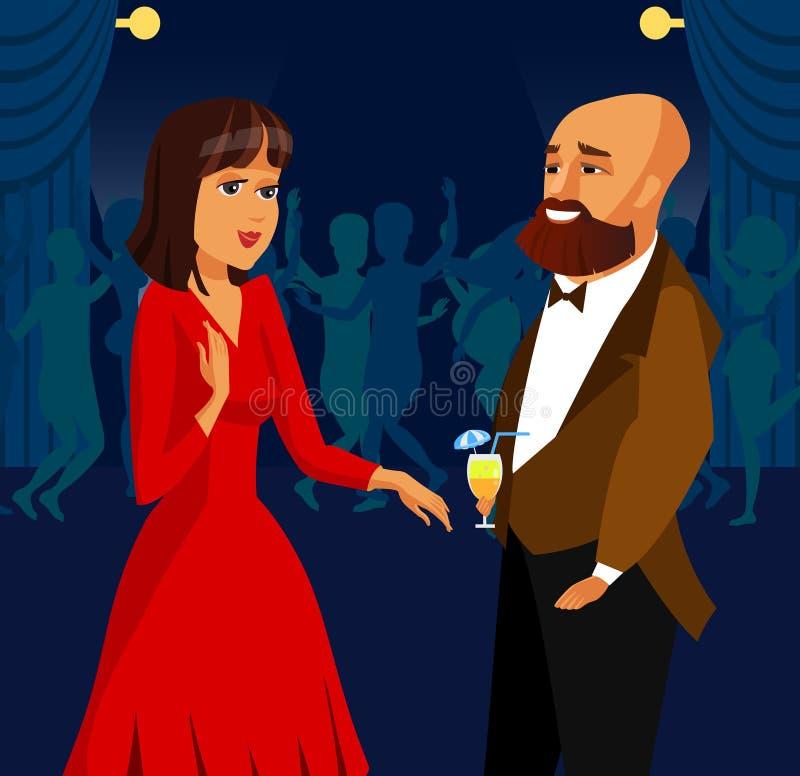 Uomo e donna al partito, illustrazione di vettore di evento illustrazione vettoriale