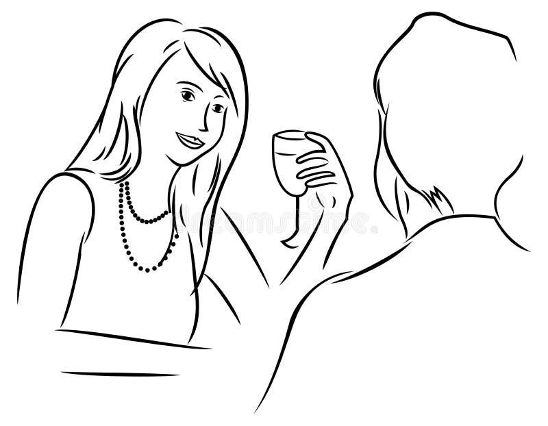 Uomo e donna al pranzo illustrazione vettoriale