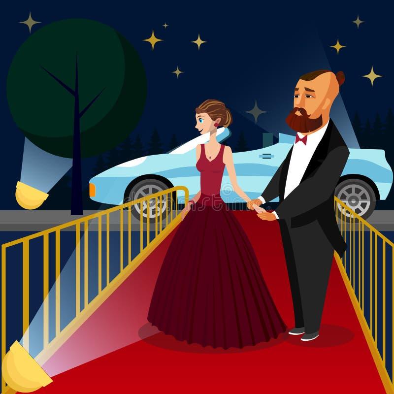 Uomo e donna all'illustrazione di vettore di evento di VIP illustrazione di stock