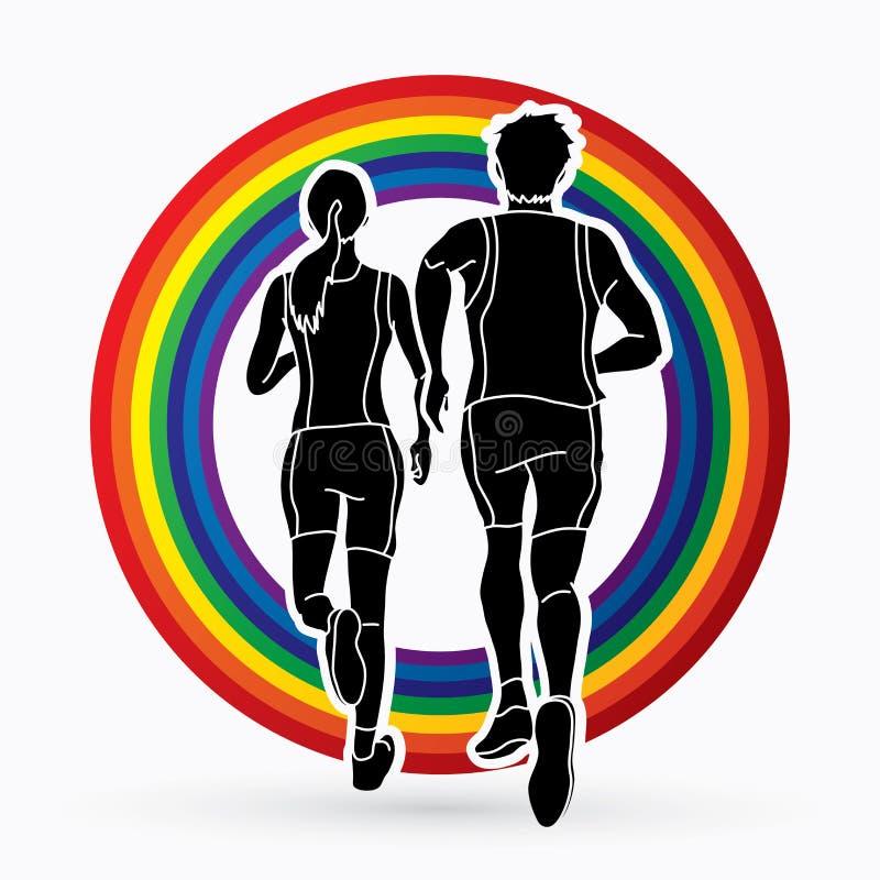 Uomo e donna che corrono insieme, funzionamento della gente, corridore, vettore grafico corrente maratona illustrazione di stock