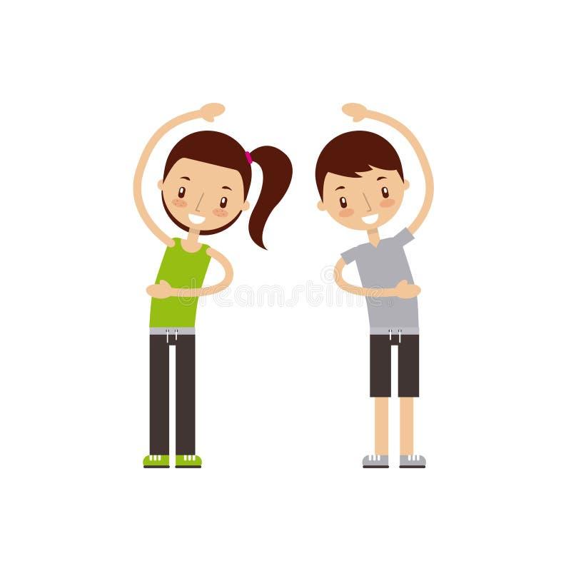 Uomo e donna che esercitano immagine felice della gente di forma fisica illustrazione vettoriale