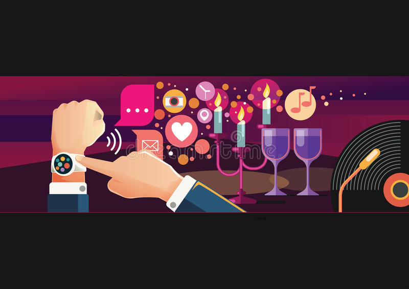 Uomo e donna che indossano orologio astuto per datare illustrazione di stock