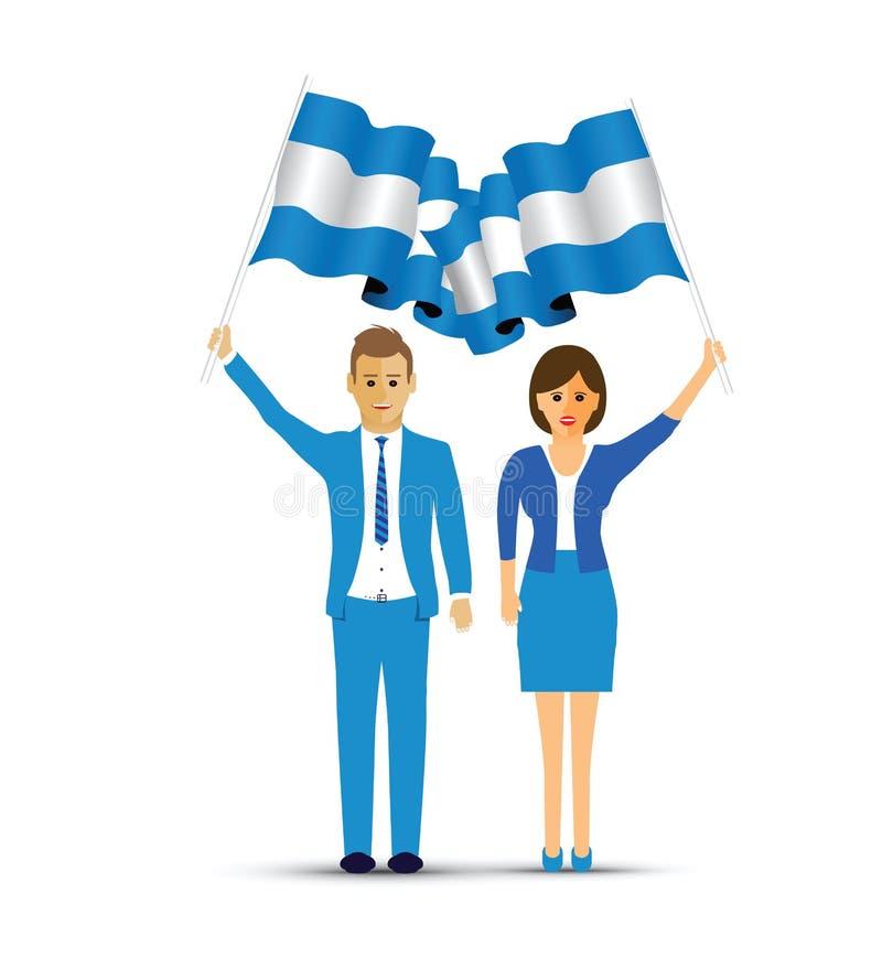 Uomo e donna che ondeggiano le bandiere dell'Argentina illustrazione vettoriale