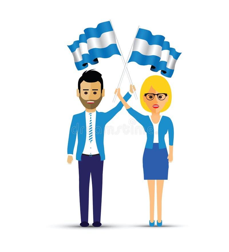 Uomo e donna che ondeggiano le bandiere dell'Argentina illustrazione di stock