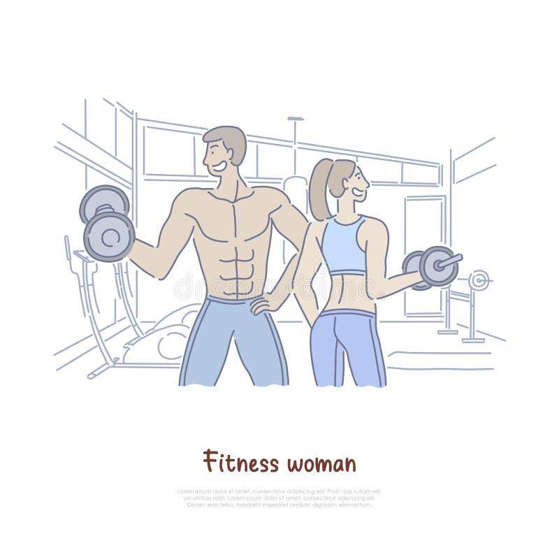 Uomo e donna che risolvono nella palestra, peso di sollevamento delle coppie dei culturisti, teste di legno, insegna di preparazi illustrazione vettoriale