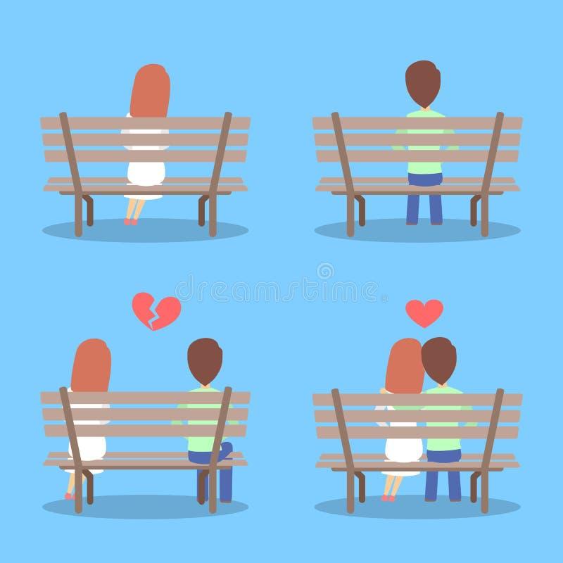 Uomo e donna che si siedono sul banco, innamorantesi e rompentesi su royalty illustrazione gratis