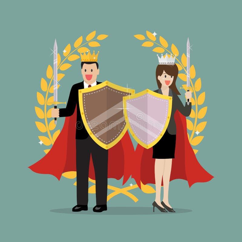 Uomo e donna con la spada dello schermo e la corona dorata royalty illustrazione gratis