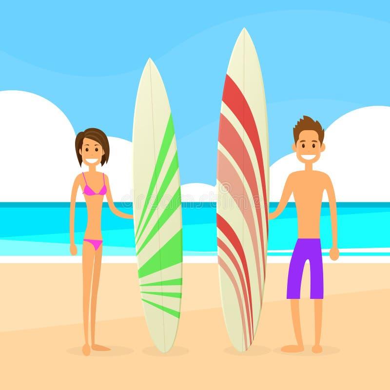 Download Uomo E Donna Delle Coppie Del Surfista Con Il Bordo Praticante Il Surfing Illustrazione Vettoriale - Illustrazione di spiaggia, piano: 56878568
