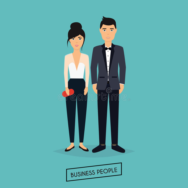 Uomo e donna di affari nella progettazione piana La riunione, presentazione illustrazione vettoriale