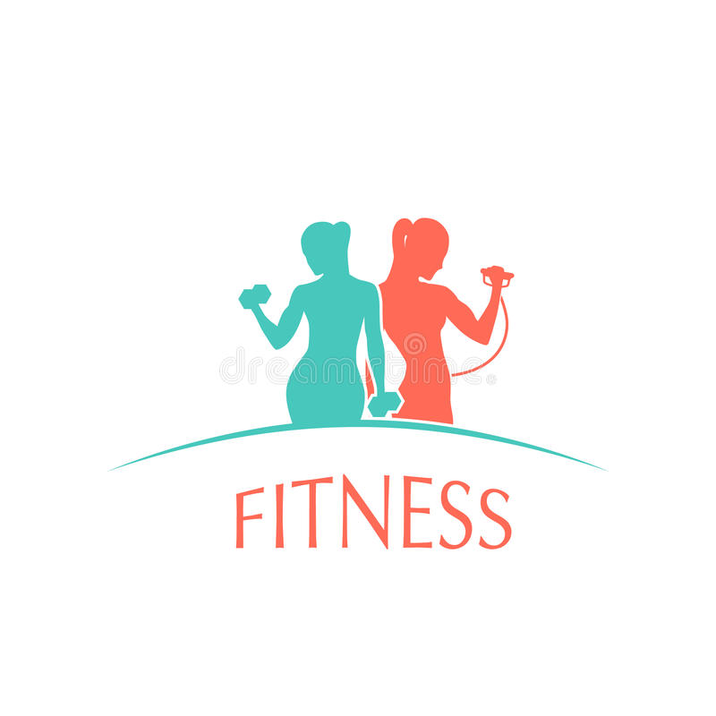 Uomo e donna di forma fisica, carattere della siluetta della palestra illustrazione vettoriale