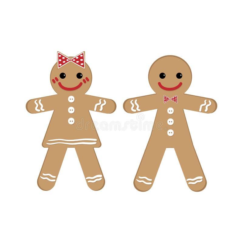 Uomo e donna di pan di zenzero nel tema di Natale illustrazione vettoriale