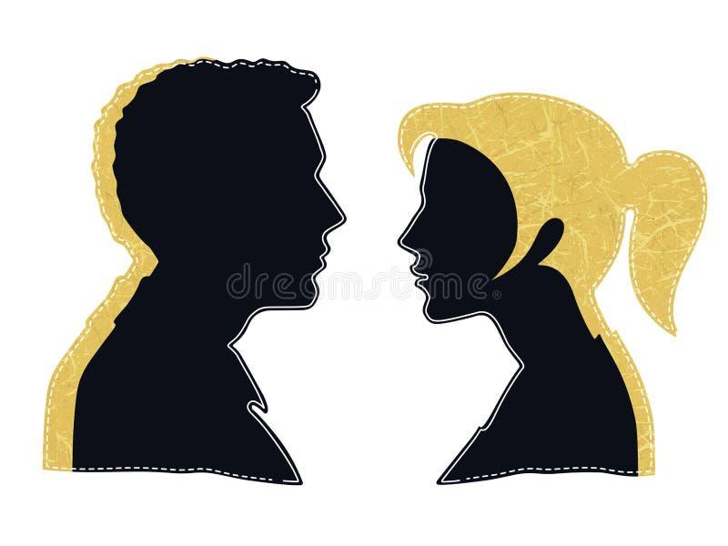 Uomo e donna faccia a faccia illustrazione di stock