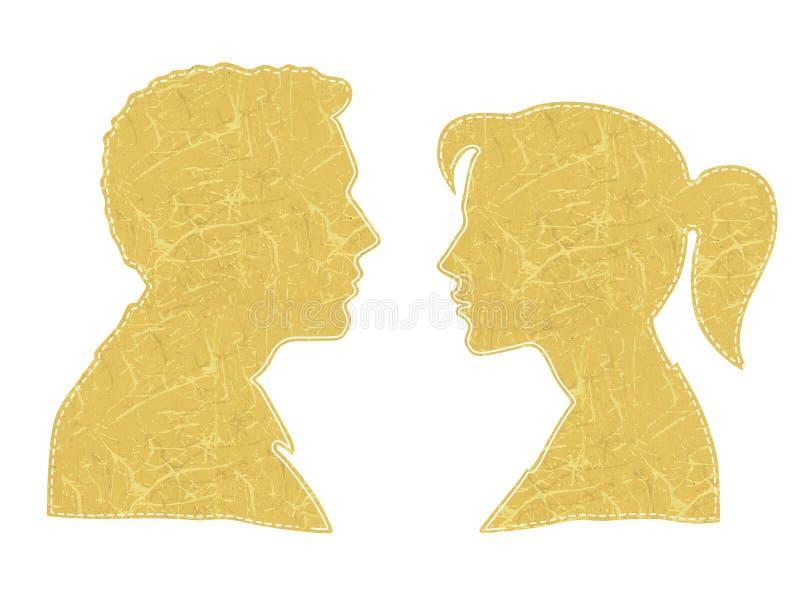 Uomo e donna faccia a faccia Siluetta variopinta della testa dell'uomo e della donna faccia a faccia e insid lineare e tratteggia illustrazione di stock
