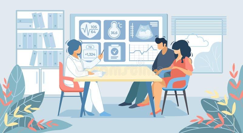 Uomo e donna incinta che si siedono al dottore Cabinet illustrazione vettoriale