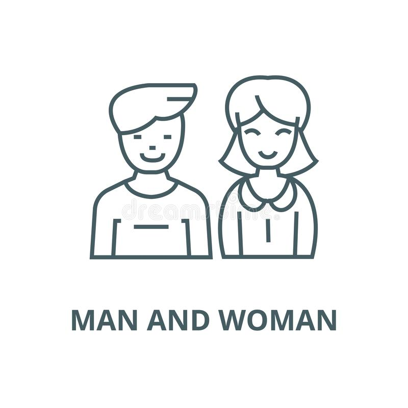 Uomo e donna, linea icona, concetto lineare, segno del profilo, simbolo di vettore illustrazione di stock