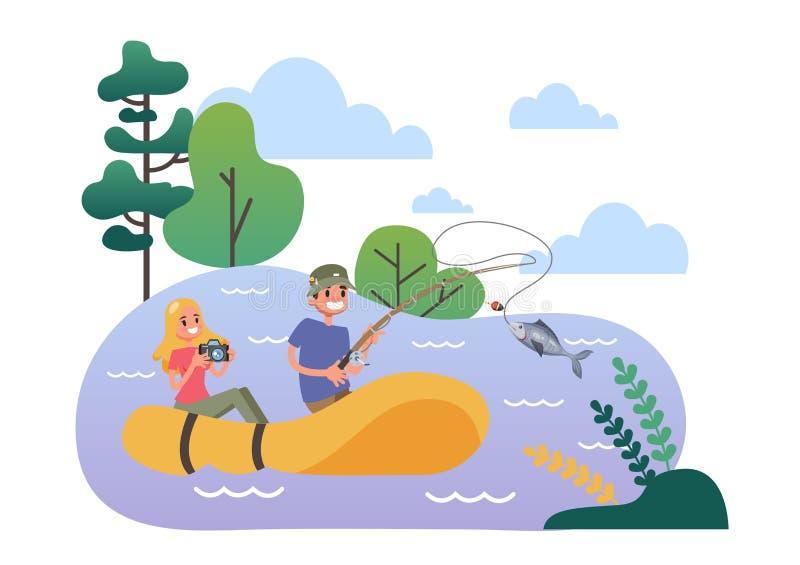 Uomo e donna nel gommone da pesca illustrazione vettoriale